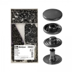 Press Buttons s-spring, brass made, ø15 mm, 100 pcs set, black nickel, Prym Multipack 390261