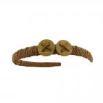 Naturaalse kiuga põimitud, puitnööbi kaunistusega plastik peavõru toorik 14,5x12,5cmx10,5mm