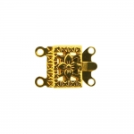 Rectangular Box Clasp with Floral Pattern, 2 Eyelets / 14 x 10mm