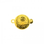 Round Box Clasp with Antique Floral Pattern, 14 x 10mm