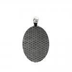 Ovaalne, ornamendimustriga, medaljonitaoline aasaga riputis / Oval Pendant Base / 46 x 27 x 2,5mm