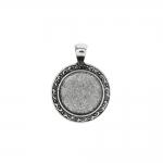 Ümar, ornamendimustriga, medaljonitaoline aasaga riputis / Round Pendant Base / 37 x 28 x 2,5mm