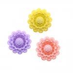 Lillekujuline, pärlmutter, pikuti auguga akrüülhelmes, sileda põhjaga 25x12mm
