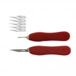 Standardi skalpellin, kirurgisen veitsen terien pidike + 5 terää Nr.11