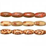 Piklikud puithelmed aafrikapäraste mustritega, pikuti auguga 14x7mm