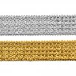 Decorative metallic ribbon Art.7816/55210, 3,5cm