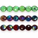 Traditional Czech glass round faceted beads, Jablonex, 14mm