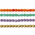 Traditional Czech glass round faceted beads, Jablonex, 4mm