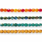 Traditional Czech glass round faceted beads, Jablonex, 6mm