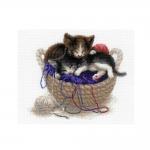 Cross-Stitch Kit Riolis 1724 Kittens In A Basket