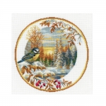 Cross-Stitch Kit Riolis 1692 Plate with Great Tit
