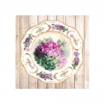 Kits w/pre-printed background 0076 PT Plate with Chrysanthemums. Satin Stitch