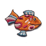 Embroidered Iron-On Patch; Small Smiling Fish / 4 x 2,7cm