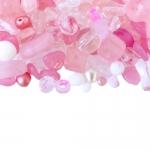 Pärlisegu Heleroosades toonides eri suurusega erikujulistest pärlitest 5-15mm, 100/50g pakk