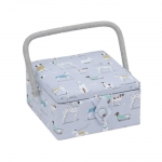 Fabric Covered Sewing Basket A Dog´s Life, (d/w/h): 20 x 20 x 11cm, Hobby Gift MRS\446