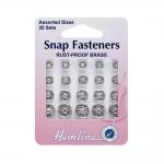 Snap fasteners, ø6mm, 7mm, 9mm, 11mm, 20pcs, Hemline 420.99