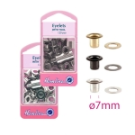 Brass made Eyelets, hole ø7mm, 20pcs, Hemline 437