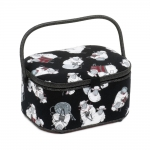 Fabric Covered Sewing Basket Lamb-the-knitter, (d/w/h): 23 x 30 x 16cm, Hobby Gift HGLO\462