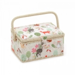 Fabric Covered Sewing Basket, Woodland, Hobby Gift