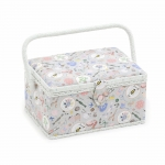 Fabric Covered Sewing Basket, Homemade, (d/w/h): 18.5 x 26 x 15cm, Hobby Gift MRM\286