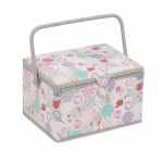Fabric Covered Sewing Basket,Notions, (d/w/h): 24 x 31 x 20cm, Hobby Gift MRL\440