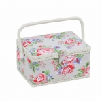 Fabric Covered Sewing Basket, Rose, Hobby Gift