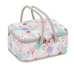 Fabric Covered Sewing Basket, Notions, (d/w/h): 23 x 31 x 15cm, Hobby Gift MROV\440