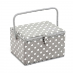 Cantilever Sewing Box: Grey Linen Polka, (d/w/h): 23.5 x 31 x 20cm, Hobby Gift MRL.268