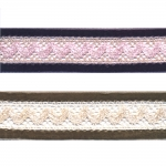 Velvet ribbon with lace T155 / 3,5 cm