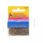 Short Sequin & Bead Pins, 35g, 16mm, ø0,65mm, Pony 25601