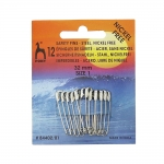 Steel Safety Pins, nickelfree plating; 12pcs, 32mm, Pony 84402/01