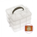 Stackable storage box es, 3 levels, 16,5 x 16,5 x 13 cm, KL1265