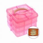 Virnastatav karbisüsteem, 3 korrust, 15,5 x 15,5 x 13cm, roosa, KL1285