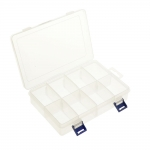 Storage box, transculent plastic (PP), 8 compartments, 20 x 13,5 x 4,5 cm, KL1311