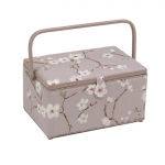 x L-size Fabric Covered Sewing Basket, Blossom (d/w/h): 20 x 39 x 26 cm, Hobby Gift HG x L.453
