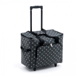 Carry Bag, Trolley Bag for Overlock and Coverlock Machines, travelling: Charcoal Polka Dot (Matt PVC), (d/w/h): 23 x 48 x 37cm, Hobby Gift MRTB.263