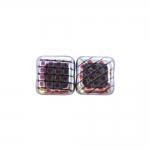 Ruudukujuline, lapik, kandiline 8x8x5mm klaashelmes, metallik mustriga