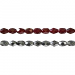 Rice-shaped faceted glass beads, 7x5mm
