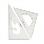 Triangle Plastic Clear View Ruler 2pcs set, Jinsihou 2035