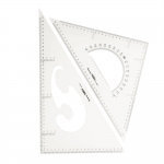 Läbipaistvast 3mm plastikust kolmnurk-joonlaudade komplekt, 2tk, Jinsihou 2040