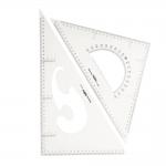 Triangle Plastic Clear View Ruler 2pcs set, Jinsihou 2040