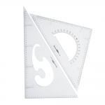 Triangle Plastic Clear View Ruler 2pcs set, Jinsihou 2045