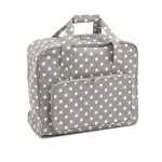 Suurem kandekott, õmblusmasina kott, Grey Linen Polka Dot (PVC), (d/w/h): 20 x 43 x 37cm, Hobby Gift MRB.268