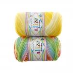 Rõõmsavärviline sujuvate värviüleminekutega akrüüllõng Sekerim Bebe Batik, Alize