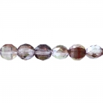 Traditional Czech glass long, flat, round faceted beads, Jablonex, 10x8mm