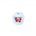 Kiisukujuline, maalitud keraamiline helmes, 14x12mm