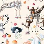 Dekoratiivkangas prinditud mustriga, Thevenon, Art. 22206, Circus Parade