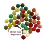 Huopapallot, Nepalin lampaan villasta, ø12 mm, 32 kpl, Habico