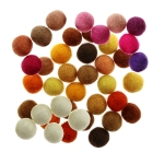 Handmade Felt Ball 25 pcs set, ø15 mm - 17 mm, Nepal wool, Habico