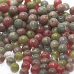 Pärlisegu Punakas-rohekates-pruunikates toonides pärlitest 6mm, 100/50g pakk